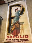 Huge Antique 3 Sheet Advertising Poster Sapolio Soap Victorian Woman P
