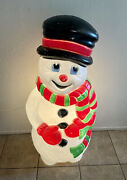 Blow Mold Grand Venture Frosty The Snowman Lighted Plastic Christmas 38 Tall