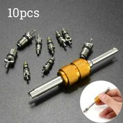 9pcs Air Conditioning Valves Core + 1pc Remover Tools For A/c System Spare Parts
