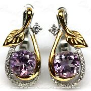 3.10ct Round Amethyst Diamond Two-tone Drop/dangle Earrings 18k White Gold Over