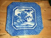 Antique Blue And White Transferware Asian Scene Square Plate Very Early