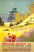 Indiana Dunes Hiking Camping Sea Beach Travel Vintage Poster Repro Free S/h