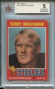 1971 Topps Football 156 Terry Bradshaw Rookie Card Rc Graded Bvg 5 Steelers