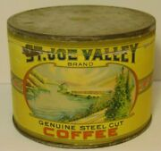 Vintage 1930s St Joe Valley Coffee Graphic Coffee Tin 1 Pound South Bend Indiana