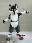 Cosplay Grey Dog Husky Mascot Costume Long Fur Suits Adults Size Party Dress New