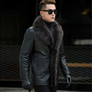 S-5xl Mens Real Raccon Fur Coat Thick Winter Warm Sheepskin Leather Jacket Parka