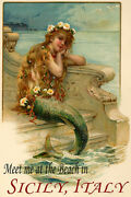 Little Mermaid Meet Me At The Beach Sicily Italy Vintage Poster Repro Free S/h