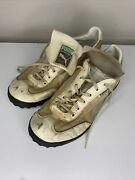 Vintage 1980s Game Cat Youth Leather Indoor Turf Soccer Shoes Size 6 White