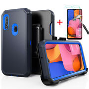 For Samsung Galaxy A20s/a20/a30 Heavy Duty Case Cover +belt Clip +tempered Glass