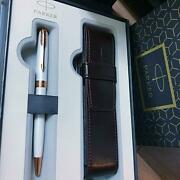 Parker Ballpoint Pen Sonnet Premium Pearl And Pink Gold Trim With Box Pm02334