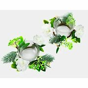 Oyaton Glass Tealight Candle Holder Set With Small Flower Rings Wreath 2 Packs