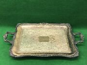"""Vintage Wm Rogers Silver Plate Footed Serving Tray/platter No. 290 24""""x14 5/8"""""""
