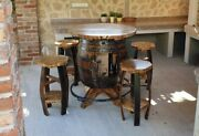 Bar Table And Chairs From Old Oak Barrels With Storage. Made To Order.