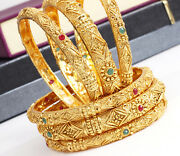 Ethnic Indian Bollywood 6ps Antique Gold Plated Bangles Bracelet Set Jewelry