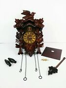 Wood Coo Coo Clock Bird / Leaves Repair Or Parts 15 Tall X 9 3/4 Wide