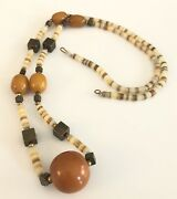 Vintage Butterscotch/ Amber Bakelite Brass Cubes And Agate Bead Necklace - 34andrdquo L