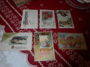 Vintage Lot Of 6 Christmas And New Years Postcards