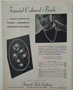 1942 Imperial Cultured Pearl Syndicate Necklace Ring Vintage Jewelry Ad