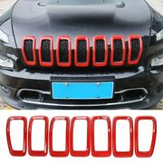 7x Red Front Grille Inserts Grill Ring Trim Decor Cover For 14-18 Jeep Cherokee