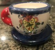 Mary Engelbreit Mini Attached Tea Cup And Saucer Figure Or Ornament Collectable