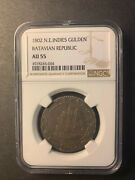 Netherlands East Indies Silver 1 Gulden 1802 Toned About Uncirculated Ngc Au55