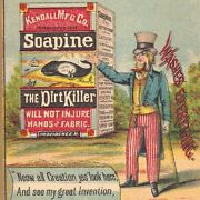 Uncle Sam 1800's Yankee Invention Whale Soapine Soap Box Patriotic Ad Trade Card