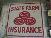 State Farm Auto Life Fire Insurance Two Piece Sign 5and039 X 5and039 Dated 1955
