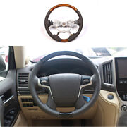 Fit For Toyota Land Cruiser 2016-2021 Wood Grain Steering Wheel Round Cover Trim