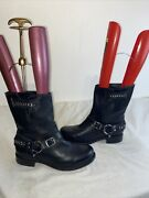 Frye Ladies Biker Leather Pull On Mid Calf Boots Size 8 Ref Jano1