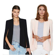 Womens Formal Office Open Front Long Sleeve Casual Cape Suit Workwear Blazers