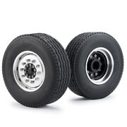 2pcs Front Wheel Rims And Tires Tyres For Tamiya Tractor 1/14 Rc Truck Model Car
