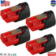 4pack 3.0ah For Milwaukee M12 12 Volt Lithium Battery Pack 48-11-2420 48-11-2401