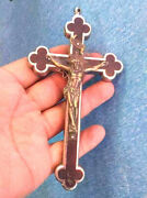 Beautiful Metallic Religious Crucifix With Brass And Wood With A Silvery Rosary
