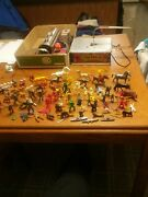 Old Toy Plastic And Hard Plastic Farmers Firemen Cowboys Horse's Dogs Soldiers