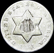 1851-o Silver Three Cent Piece 3cp Type Coin ---- ---- L566