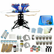 Updated 6 Color 6 Station Screen Printing Kit Ink Squeegeeand Shirt Press Machine