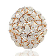 3.75 Tcw Marquise And Pear Diamond Cocktail Ring 18k Yellow Gold Handmade Jewelry