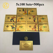 100 Sets X 5 Types America Disney Dollar Mickey Mouse Duck Magic Gold Banknotes