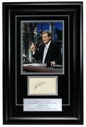 David Letterman Late Night Signed/auto Index Card And Photo Framed Jsa 157714