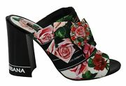 Dolce And Gabbana Black Floral Crystal Mules