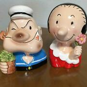 Popeye And Olive Piggy Bank Set Interior Figure Pottery