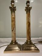 Pair Of Vintage Christopher Wray Painted Marble Corinthian Colum Table Lamps