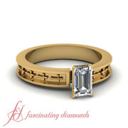 Yellow Gold Solitaire Diamond Vintage Rings With 3/4 Carat Emerald Cut In Center