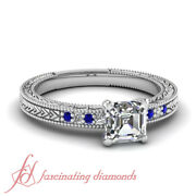 1 Ct Blue Sapphire And Asscher Cut Diamond Rings Antique Inspired Pave Set Gia