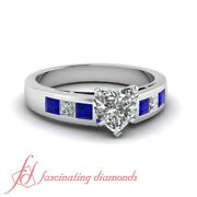 1 Ct Heart Shaped Vs2-e Color Diamond And Blue Sapphire Engagement Ring 14k Gold