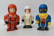3 Rare Vintage 1990and039s Comet Toys Plastic Wind-up Space Man Astronauts Figures