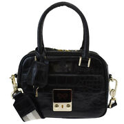 Auth Anya Hindmarch Carker 2way Shoulder Hand Bag Embossing Leather Bk 88mg134
