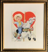 Vintage Watercolor Illustration Valentine Card Young Cowboy On Carousel Horse