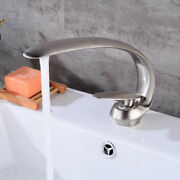 Silver Copper Brushed Bathroom Faucet Mixer Single Handle Deck Mount Low Lead