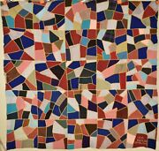 Elegant Vintage Wool Crazy Quilt, Signed And Dated 1910 Like Stained Glass